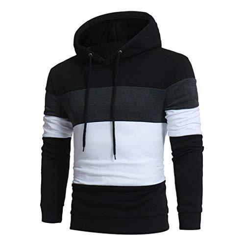 Xmiral Hoodies Herren Breiter Streifen Langärmlig Hooded Sweatshirt Patchwork Oberteile mit Kapuze Mode Slim Fit Hemden(Schwarz,L)