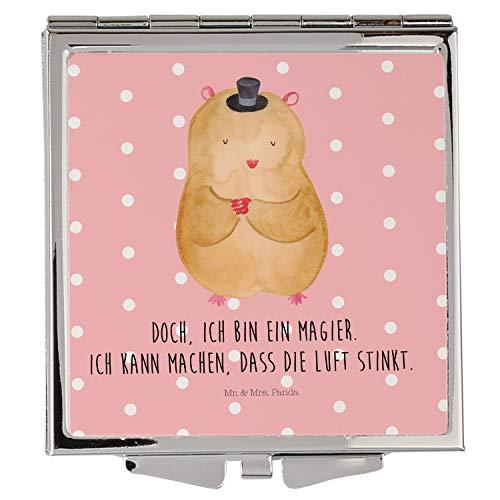 (Mr. & Mrs. Panda schminken, Quadrat, Handtaschenspiegel quadratisch Hamster mit Hut mit Spruch - Farbe Rot Pastell)