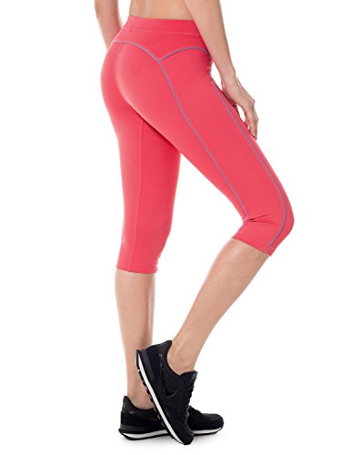 SYROKAN Femme Leggings de Sport Pantalons Capri Jogging Yoga Collants Magenta 46 ( XL )