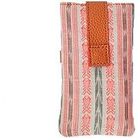 AT IKAT Indian Da donna bianca and Tan Mobile marsupio con impugnatura / loop per auricolari Per iPhone