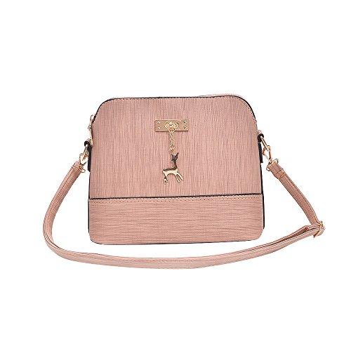 Damen Leder Umhängetasche Reh Anhänger Reißverschluss Citytasche Schultertasche Casual Crossbody Messenger Tasche (C Typ Rosa)