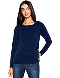 36c8a77ff874 Maine New England Womens Navy Textured Stripe Crew Neck Jumper