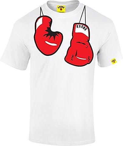 kronk Gants de défenseur pour football pendentif décoratif en forme de pour homme boxe avec Hitman Hearns Klitschko T-shirt - Blanc -