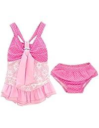 1d4236874 Mitlfuny Niño Traje de Baño Cuello Halter Lunares Encaje Bañador para bebé  Niñas Bikini Tops de