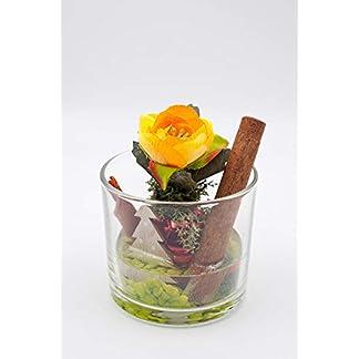 Pequeño centro de mesa con ranúnculo naranja/amarillo+canela-arreglo floral para navidad con flores artificiales