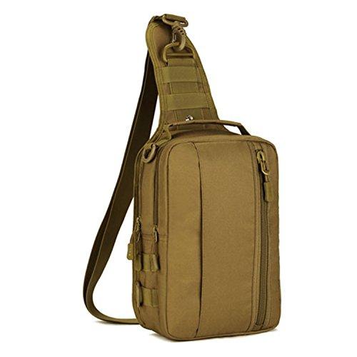 Imagen de hombre mujer bolsa táctico militar bolsa de pecho bolso al hombro de moda bolsa de aire libre para ocio deporte senderismo bolsa , marrón oscuro