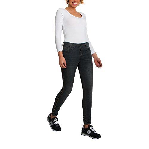 skutari luxurioese Damen Jeans Stretch Loose Fit Jeans da donna Boyfriend Bottoni Chiusura Lampo Denim Schwarz/Graphit