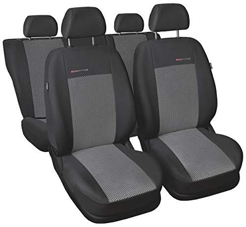 Carpendo Sitzbezüge Auto Set Autositzbezüge Schonbezüge Dunkelgrau-Grau Vordersitze und Rücksitze mit Airbag System - P2 -