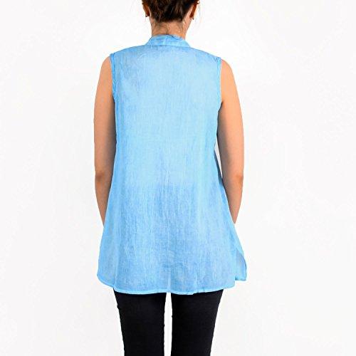 PALME Top MAO Blu Blu