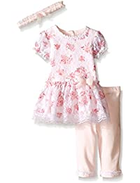 Little Me Baby Girls Printed Lace Dress and Legging Set