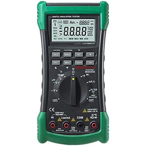 Mastech-Multimetro digitale MS5208 6600 punti Megger resistenza di isolamento-True RMS, Tester di voltaggio e corrente AC temperatura