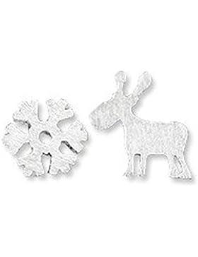 findout Damen Sterling-Silber-Schneeflocke Weihnachten Hirsch Ohrringe, für Frauen, Mädchen, (f1564)