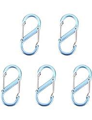 5pcs Mini Mosquetón Gancho Clip Aleación de Zinc para Llavero Camping (azul)