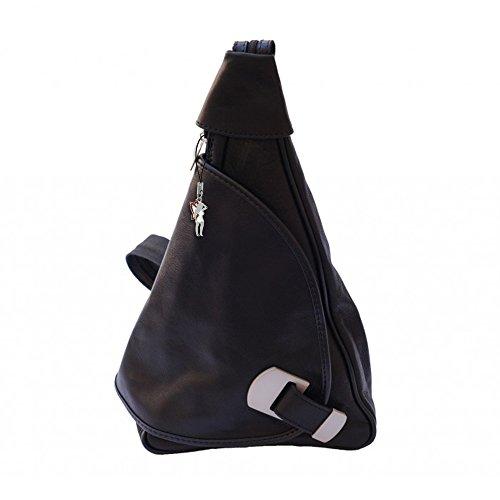 Rucksack Damen Rucksackhandtasche Crossbody Schultertasche Leder schwarz Handtasche DrachenLeder Made in Italy OTF600S