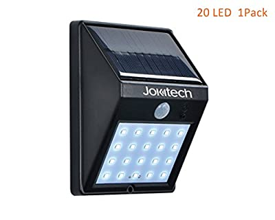 Super Bright 20 LED Solar Street Lights, Jokitech Motion Sensor Wall Light Bright Weatherproof Wireless Security Outdoor Light with Motion Activated ON/OFF for Step, Garden, Yard, Deck - inexpensive UK light store.