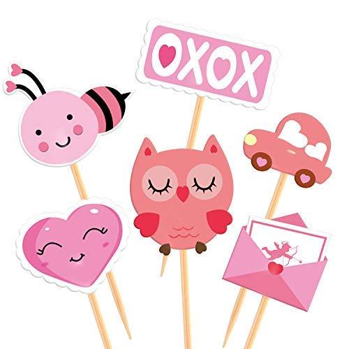Tuparka 60 pezzi di san valentino cupcake toppers picks san valentino stuzzicadenti bandiere per decorazioni di torta di san valentino festa di nozze forniture per feste