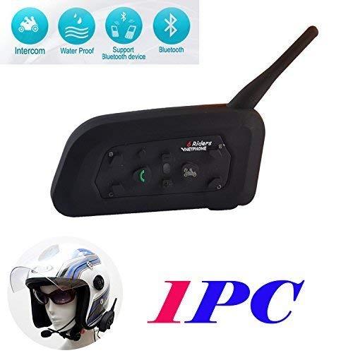 V6 Cuffie Interfono Bluetooth Impermeabile Intercom Stereo Microfono per Casco, Compatipile con Cellulare, Comunicazione da 1200m tra 6 Motociclist