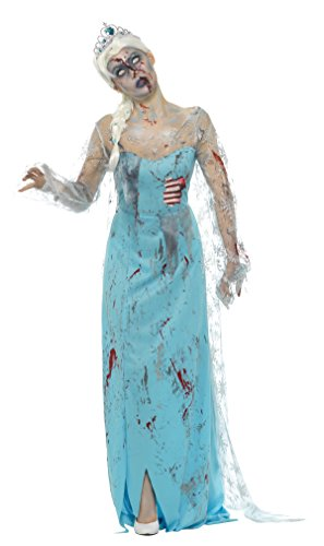 Smiffys Damen Zombie zu Tode erfroren Kostüm, Kleid mit angebrachten Latex Rippen und Stirnreif, Größe: 36-38, 46864