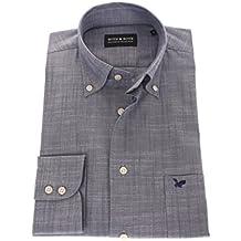 Bots & Bots 178612 Camisa para Hombre - Cotton - Hilo Slub - Button Down -