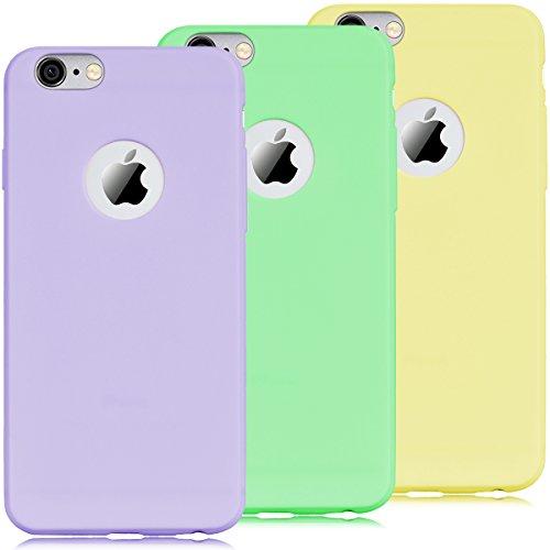 Coque iPhone 6 / iPhone 6S, Yokata Solide Mat Anti-Fingerprint Case Housse Étui Soft Doux TPU Silicone Flexible Backcover Ultra Mince Coque - Bleu marine Violet + Vert + Jaune