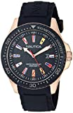 Nautica Men's 'Jones Beach' Quartz Stainless Steel and Silicone Casual Watch, Color:Black