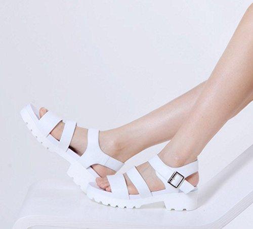 Estate nel primo strato di scarpe di cuoio/Una spessa Velcro Sandali Bianco