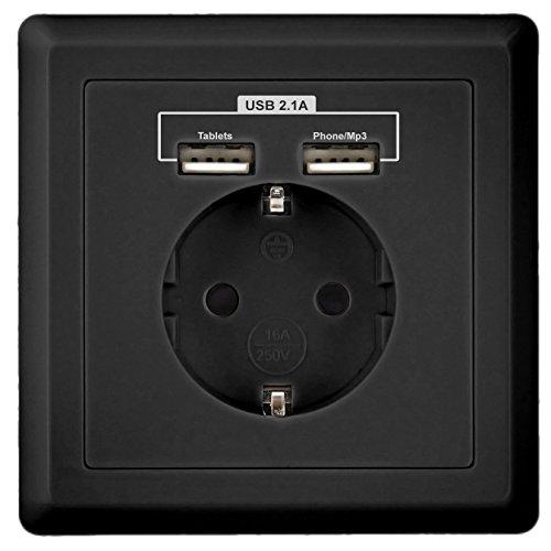Preisvergleich Produktbild SHOOT USB Schuko Steckdose mit 2 x USB 230V 220V SCHWARZ, Laden aller mobilen Geräte Ipod Iphone Ipad Smartphone MP3 Passent in standart Unterputzdose unterputz