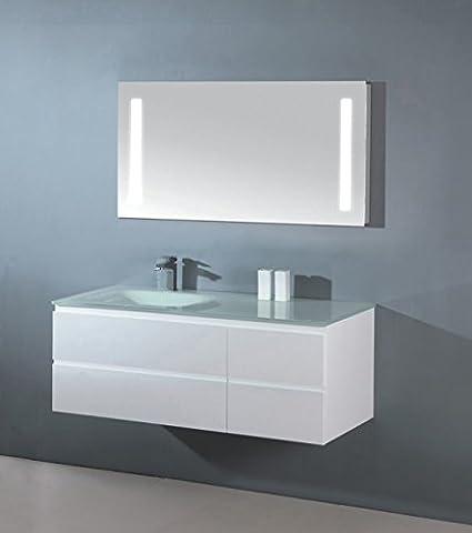 Luxus Badezimmermöbel Badmöbel bestehend aus Unterschrank, Waschtisch aus Glas,und LED-Spiegel mit Beleuchtung (100