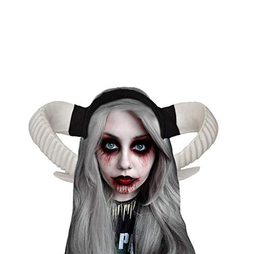 Hexe Frauen Halloween Gothic Horn Cosplay Kostüm Schwarz Stirnband Haarschmuck Für Damen Karneval Party Maskerade Abschlussball Cosplay Kostüm Stirnband Stirnbänder Festliche Fotografie Kopfband