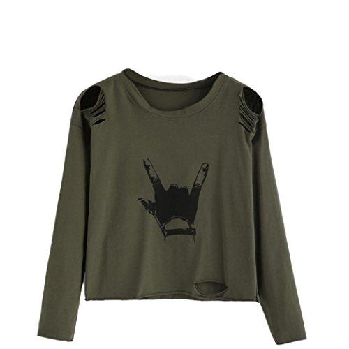 Kanpola T-Shirt Damen Langarm bedruckt Baumwoll Tops (S, Armeegrün)