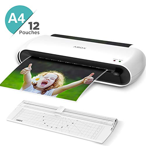 ABOX Laminiergerät A4 A5 A7 mit Papierschneider und 12 Laminierfolien, 300 mm/min und ABS Funktion ABOX OL145 Laminiermaschinen für Schule, Büro und Zuhause, Weiß
