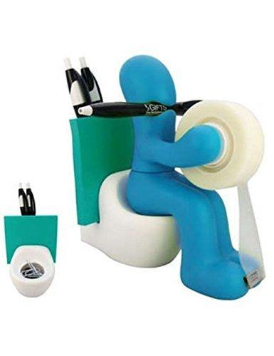 Butt Station oficina cinta dispensador titular de accesorios de escritorio con rollo de cinta, lápiz, notas y clips de papel (azul)