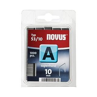Novus Feindrahtklammern superhart 10 mm, 1000 Tacker-Klammern vom Typ 53/10 aus Stahldraht, für Stoff und Holz