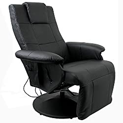 Multistore 2002 Massage chair Relax armchair TV armchair with massage Heated seat adjustable footboard LCD remote control PU Black