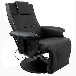 Multistore 2002 Massagesessel Relaxsessel Fernsehsessel mit Massage Sitzheizung verstellbares Fußteil LCD-Fernbedienung PU Schwarz