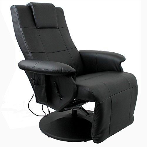 Preisvergleich Produktbild Massagesessel Relaxsessel Fernsehsessel mit Massage Sitzheizung verstellbares Fußteil LCD-Fernbedienung PU Schwarz