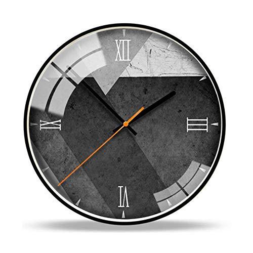 YSA 12 Zoll große stille Uhr, Grauer Zement Wandmuster für Küche, Schlafzimmer, Garten, Wohnzimmer, Studie, Büro, C, 12 Zoll 9100 Bluetooth