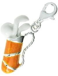 Queenberry Klipp-Perlanhänger Sterling Silber Emaille weiß Orange Golf Club Dangle Bead Anhänger Europäische W Karabiner