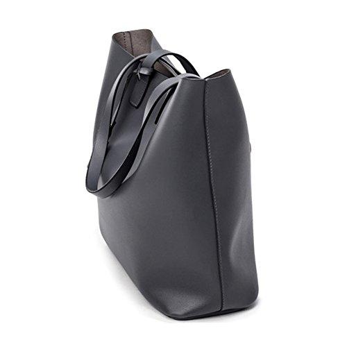 Myymee Damen Microfiber Leder Schulter Handtasche Eimer Tasche Casual Tote Dunkelblau