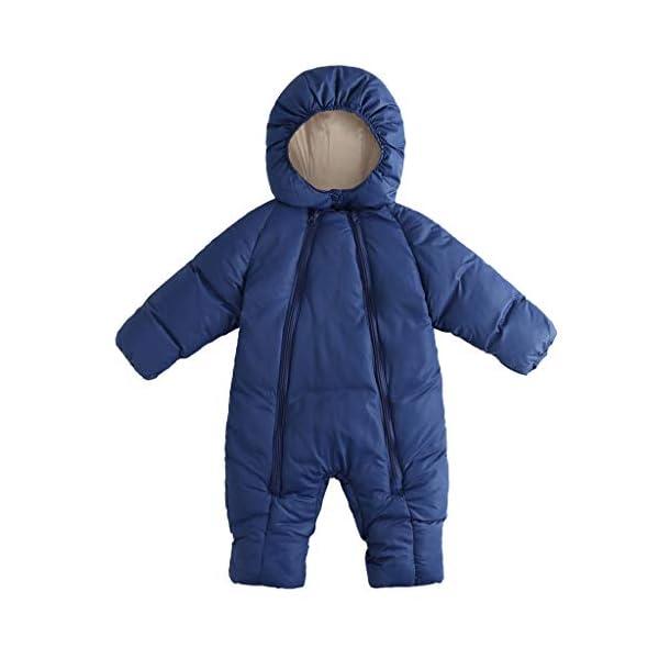 Bebé Traje de Nieve con Capucha Mameluco Infantil Cremallera Mono Invierno Peleles Impermeable para Niñas Niños Abrigo… 1