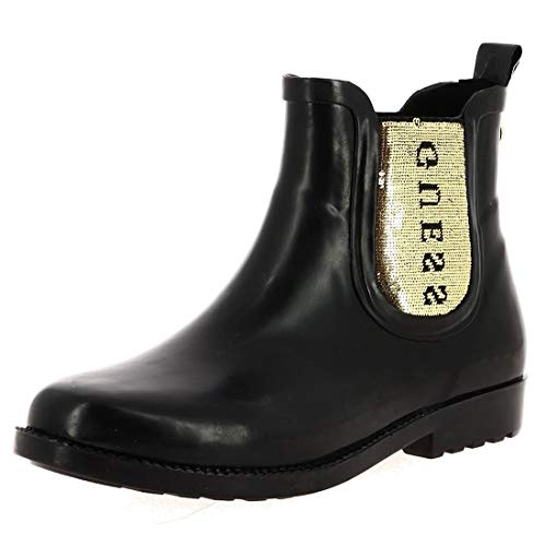 Guess REKHA3 Boots Women Black/Gold Wellington Boots