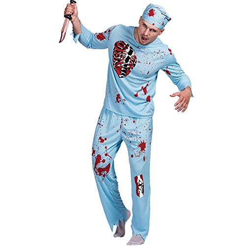 YouN Novelty Funny,Men Doctor Zombie Bloody Surgeon Costume Halloween Carnival Outfits (M) (Halloween Zombie-outfits Für)