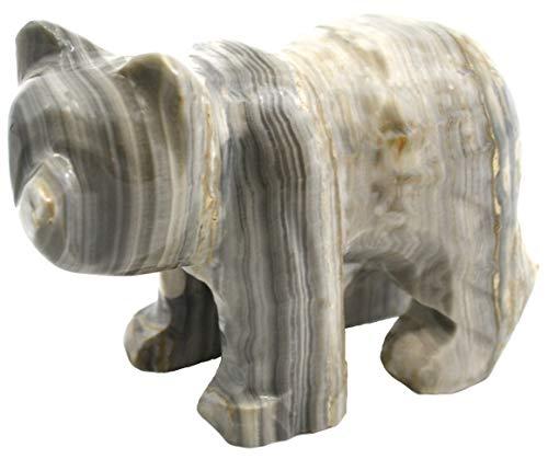 """Stormy Gris ónice Aragonite Grizzly Bear, 5,25"""" DE Largo, 3"""" de Alto, 1,25 Libras, Tallado de Real North American Gray Onyx Aragonite – La Serie Artesana Mined de HBAR"""