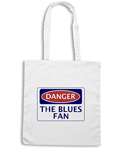 T-Shirtshock - Borsa Shopping WC0313 DANGER THE BLUES FAN, FOOTBALL FUNNY FAKE SAFETY SIGN Bianco