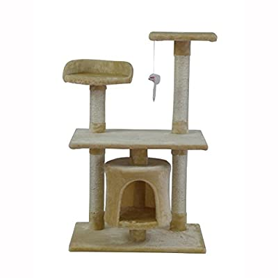 Cat Tree Scratching Post Activity Centre Cat Scratcher Castle Toy 95cm (Beige, Brown&Beige)