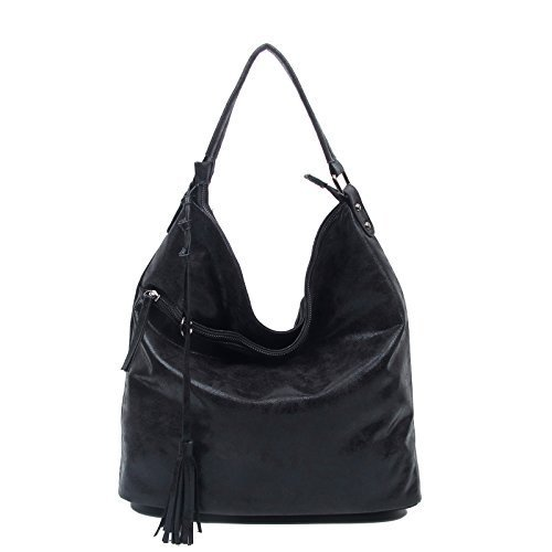 OBC ital-design moderne Damen Shopper DIN-A4 Tasche verwandelbar Nieten Beuteltasche Hobo-Bag Schultertasche Clutch Umhängetasche Damenhandtasche Handtasche 38x40x7 cm (BxHxT) (Braun (Antik Optik)) Schwarz 2