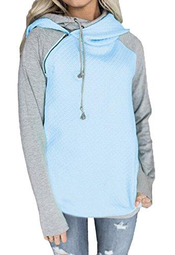 Eineukleid Automne- Hiver Femme's Casual Manche Longue Zippé Sweater Sweatshirt à Capuche Multicolore Collure Jumper Hoodie Tops Hauts Bleu