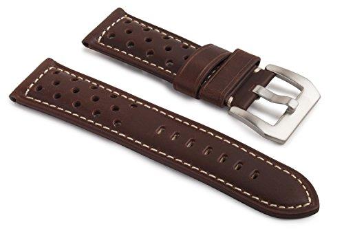 watchassassin 22mm/20mm Designer Uhrenarmband Leder braun gepolstert, Rally Löcher, Schnalle (Designer-schnalle)