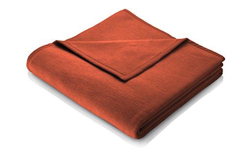 Biederlack Wohn- und Kuscheldecke, 60 % Baumwolle, Veloursband-Einfassung, 150 x 200 cm, Terracotta, Orion Cotton, 240035