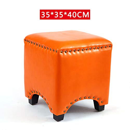 Lwsofa stool Niedriger Hocker Holzsitzhocker Fußstütze Ottoman Square Chair Fußhocker mit Faux Luxury Oil Wax Lederüberzug, handgefertigte Nieten Kantenversiegelung (weinrot) (Farbe : D)